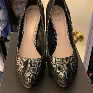 Black and silver Vince Camino heels.